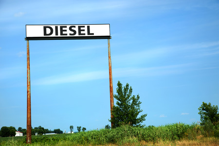 Diesel announcement in a blue sky along an highway