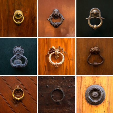 Collage of different knockers and handles on doors on different background