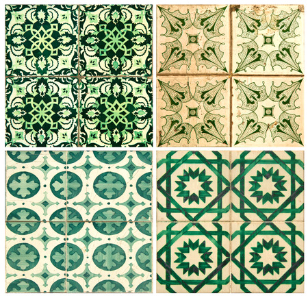 Photograph of four traditional portuguese tiles in green