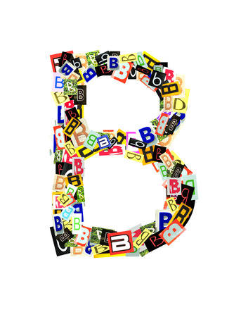 Alphabet collection Capital B, with the letter being formed with a collage of smaller images, of both capital and lowercase letters, in a variety of fonts and colours. Isolated on white background