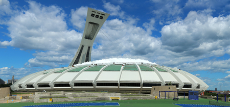 MONTREAL, CANADA- AOUT 10, 2018:  Olympic Stadium for 1976 Games. This is where Nadia Comeneci became the first female to score the perfect 10 during the 1976 Olympic games in Montreal, Canada. 에디토리얼