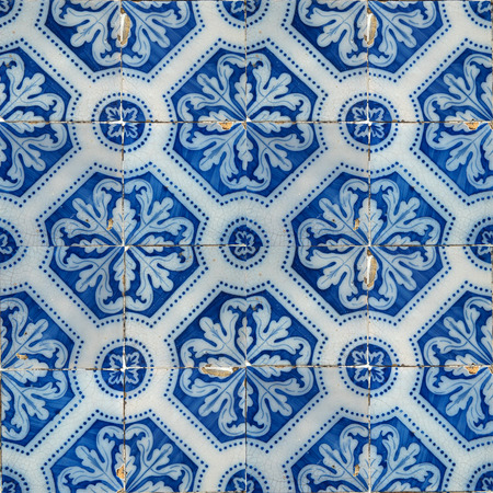 Photograph of traditional portuguese tiles in blue 版權商用圖片