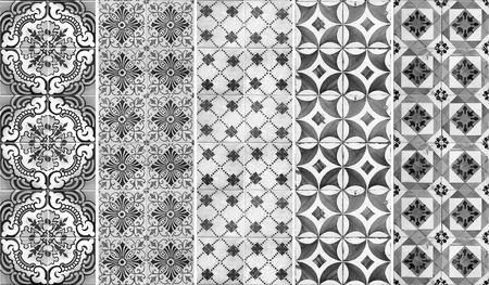 Photograph of traditional portuguese tiles in different shade of grey 版權商用圖片
