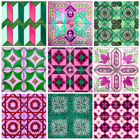 Photographer of traditional portuguese tiles in pink, green and purple