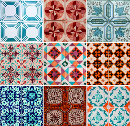 Photographer of traditional portuguese tiles in orange, turquoise and brown