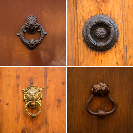 Collage of different knockers and handles on doors on wooden background Stock Photo