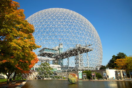 MONTREAL, CANADA - OCTOBER 09, 2018: The Biosphere is a museum in Montreal dedicated to the environment. It was the pavilion of the United States during Universal exposition in 1967.