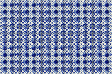 Photographs of traditional portuguese tiles geometrical in blue tone