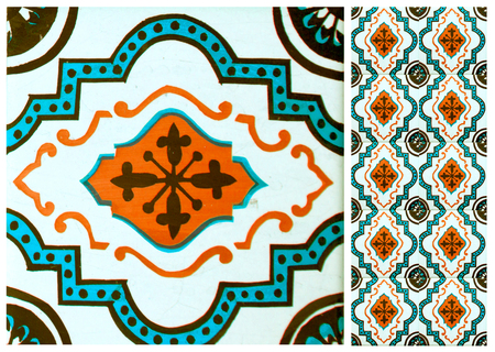 Photographs of traditional portuguese tiles with flowers in turquoise and orange tone