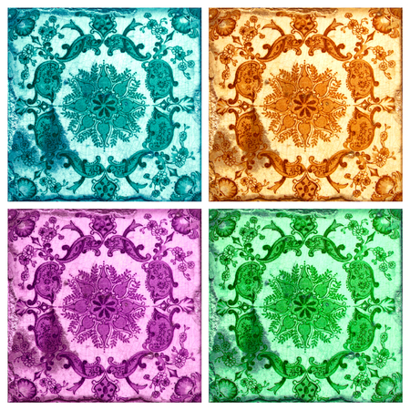 Photograph of traditional portuguese tiles in 4 different colours.  Pink, orange, turquoise and green.