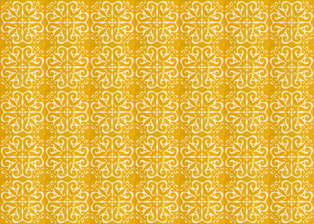 Photograph of traditional portuguese tiles with a yellow pattern