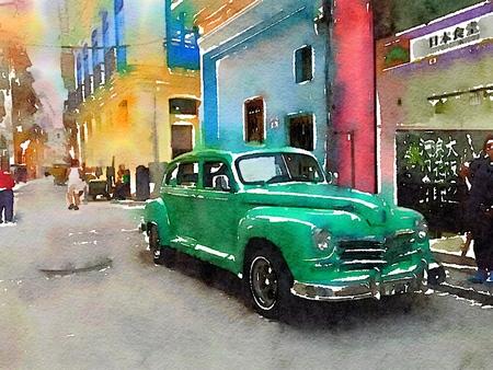 Digital watercolor of green classic american old car in Havana in Cuba Stock Photo
