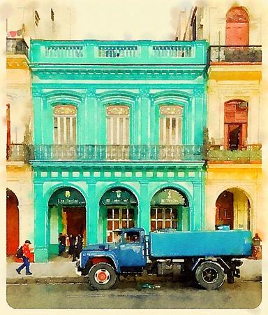 Digital watercolor of old blue water tank truck in front of neoclassical building in Havana in Cuba
