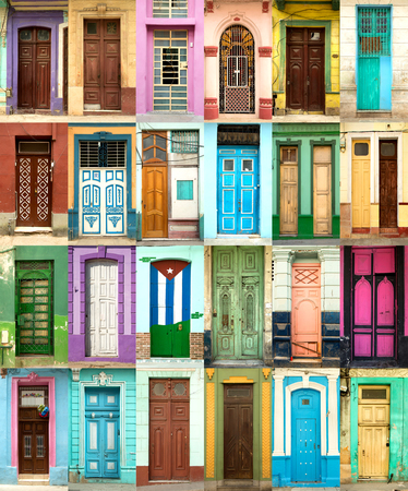 A collage of 24 ancient colorful wooden doors from Havana in Cuba
