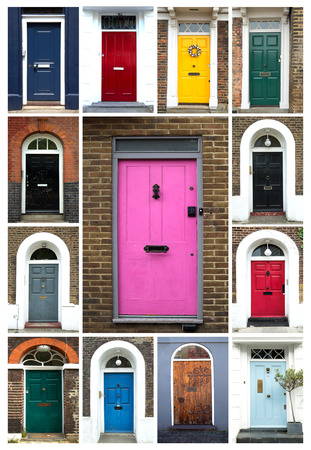 A collage of ancient colorful wooden doors from London in UK