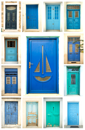 A collage of ancient colorful wooden doors from Greece Standard-Bild