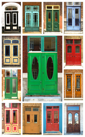 A collage of ancient colorful wooden doors from Quebec in Canada