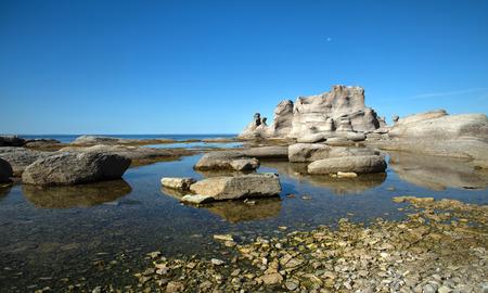 Le château à la grande ile dans la réserve de parc national de l'archipel de Mingan au Québec au Canada