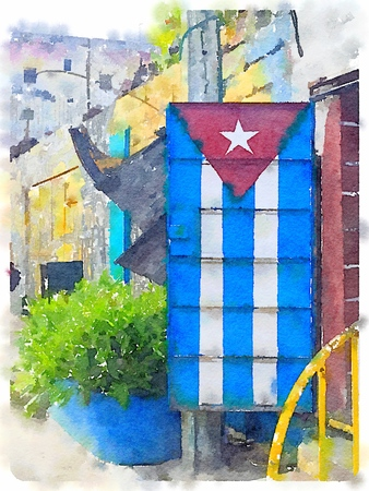 Digital watercolor of Cuban flag painted on a metal door in Havana in Cuba