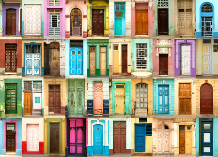 A collage of 40 ancient colorful wooden doors from Havana in Cuba Standard-Bild