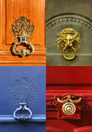 Collage of different knockers and handles on doors