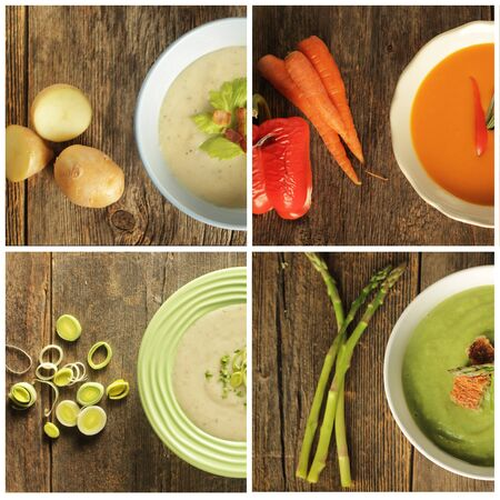 Different variety of soup and veggies on wooden background. Tomato, potato, leak and asparagus. Reklamní fotografie