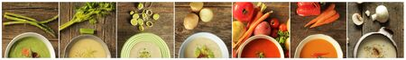 Collage of half of bowl of different variety of soup and veggies on rustic background.