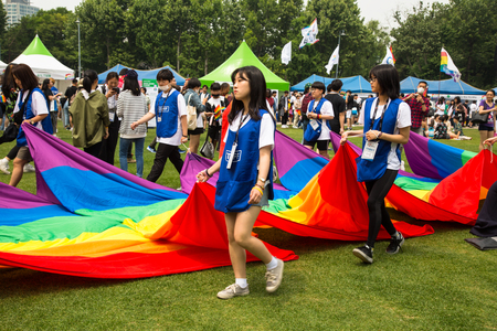 SEOUL-SOUTH KOREA, may 5, 2019:  Tens of thousands of LGBT South Koreans and their supporters paraded through central Seoul Saturday for the capitals 20th gay rights march