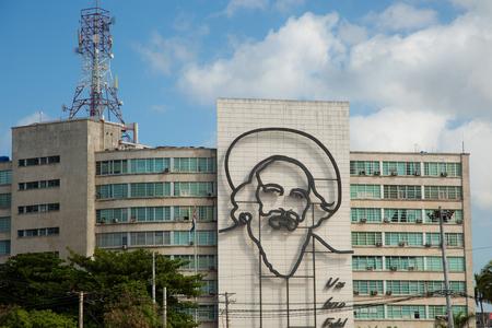 HAVANA-CUBA- DEC 6, 2018: Fidel Castro Cuba sculpture in Revolution Square Havana Cuba, Plaza de la Revolucion, Ministry of Interior building, Havana, Cuba