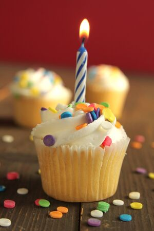 Vanilla birthday cupcake with candle and white icing full of little candies on a orange background Banco de Imagens
