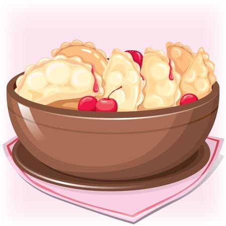 клецка: Dish with dumplings with cherry on pink napkin