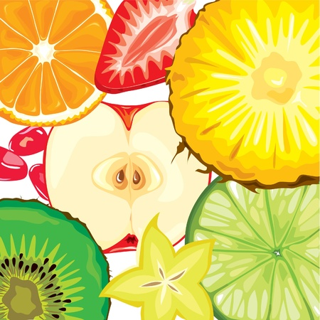 apple slice: Color ripe fruit slices mix Illustration