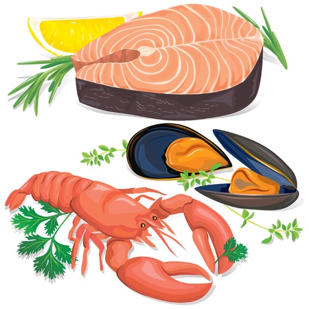 salmon fish: Appetizing seafood set on white background Illustration