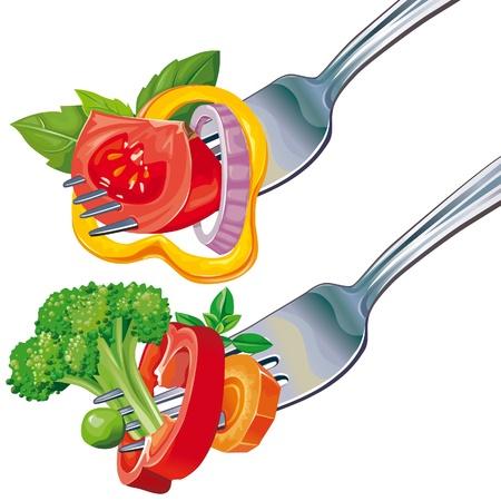 Mix de légumes frais sur fourche isolé sur fond blanc