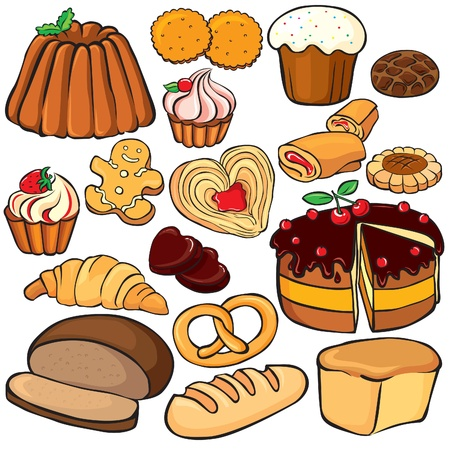 sweet pastries: Baking and sweets icon set isolated on white Illustration