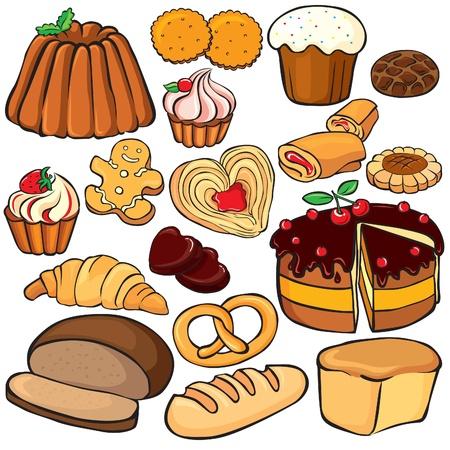 pain frais: Ic�ne de cuisson et des bonbons ensemble isol� sur blanc