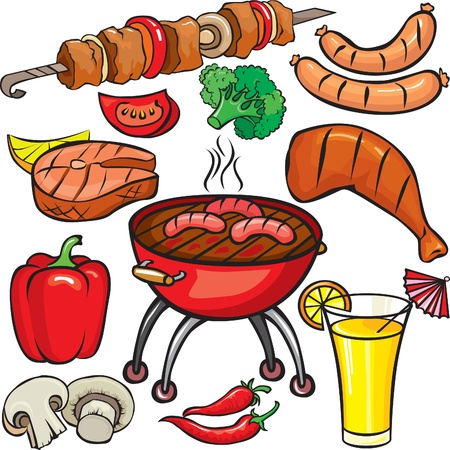 frankfurters: Barbecue icon set  on a white background Illustration