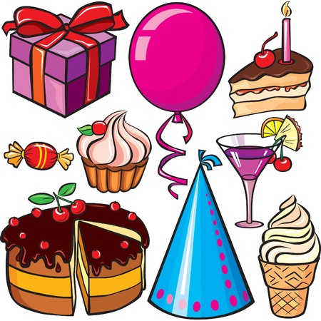 holiday food:  Birthday icon set on a white background