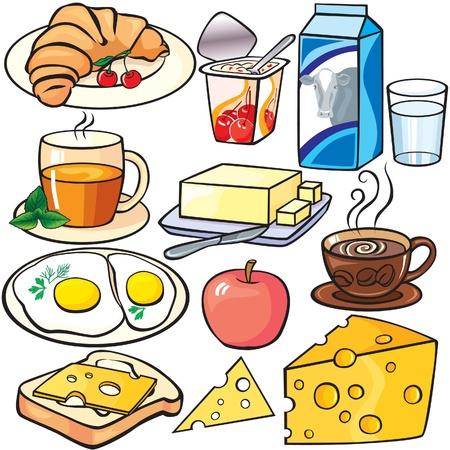 pan con mantequilla: Desayuno conjunto de iconos