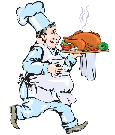 gait: Chef carrying tray with chicken Illustration