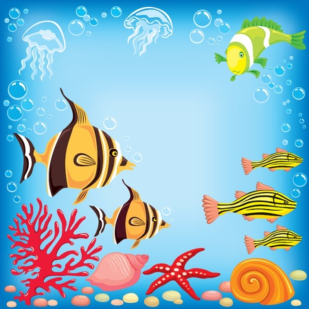 Colored fish under water Stock Vector - 9931543