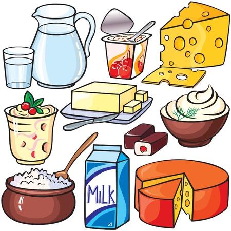 dairy: Молочные продукты набор иконок Иллюстрация