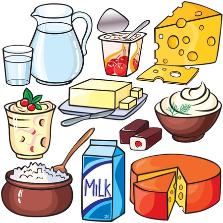 food packaging: Dairy products icon set