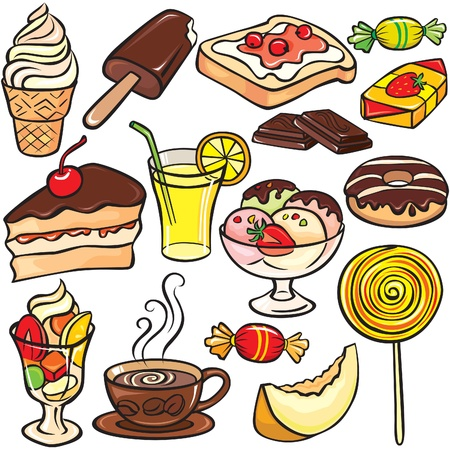 cold coffee: Desserts, sweets, drinks icon set