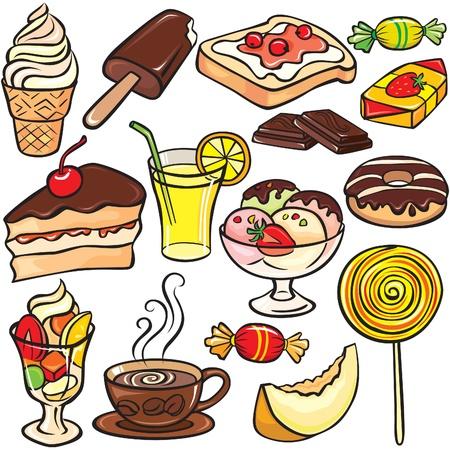 Desserts, snoep, dranken icon set