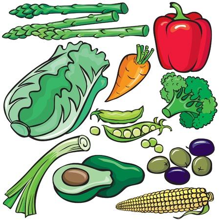 cebollas: Conjunto de iconos de productos de dieta Vectores