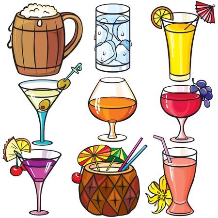 Drinks, cocktails icon set