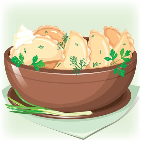sifting: Dumpling sifting greens Illustration