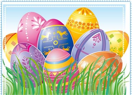 pasqua cristiana: Biglietto di auguri di Pasqua Vettoriali