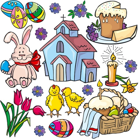 easter cake: Easter icon set